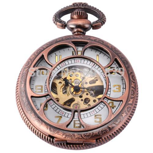 10PCS H174 Luxury See Through Hand Wind up Mechanical watch White Dial Copper Tone Mens Pocket Watch Nice Gift watch for men<br><br>Aliexpress