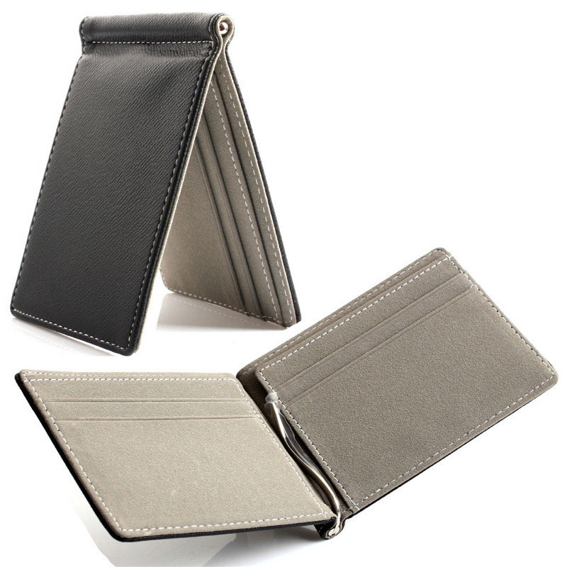 Faux Leather Slim Mens credit card wallet Money Clip Contract Color Simple Design Burnished Edges Brand