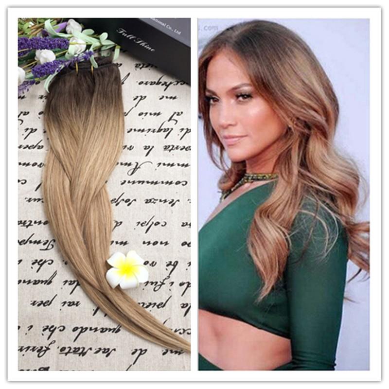 Full Shine 2016 New Fashion Balayage Ombre Hair Bundle Color #2#6#27 100% Human Hair Weaving Cheap Human hair 100g Lot
