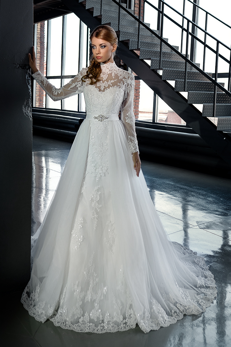 Buy a line long sleeve see through corset for Wedding dress with see through lace bodice