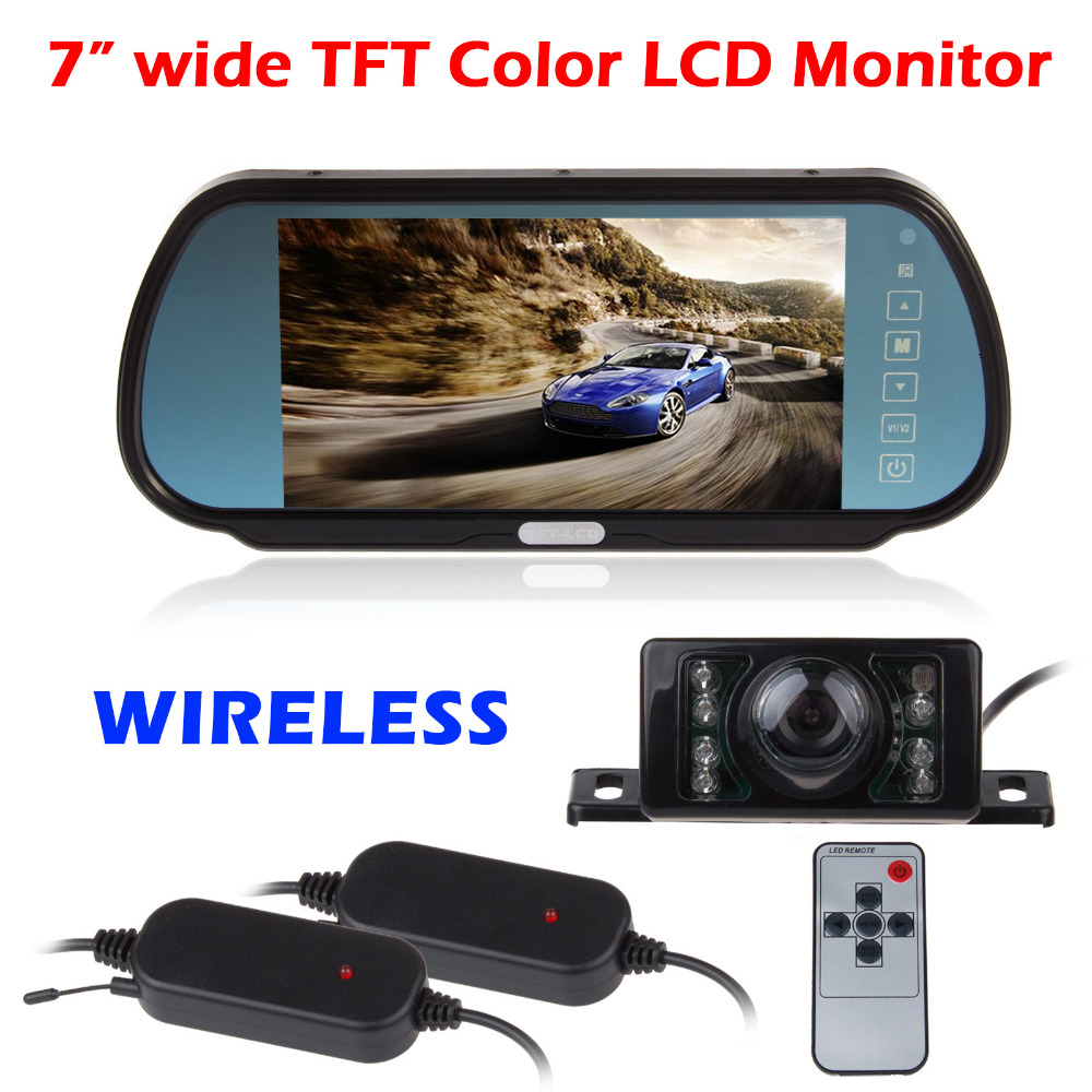 7 Inch HD Wireless Car Rear View Camera With Monitor Night Vision For BMW VW Audi Ford Reverse Rear View Camera Mirrow Monitor(China (Mainland))