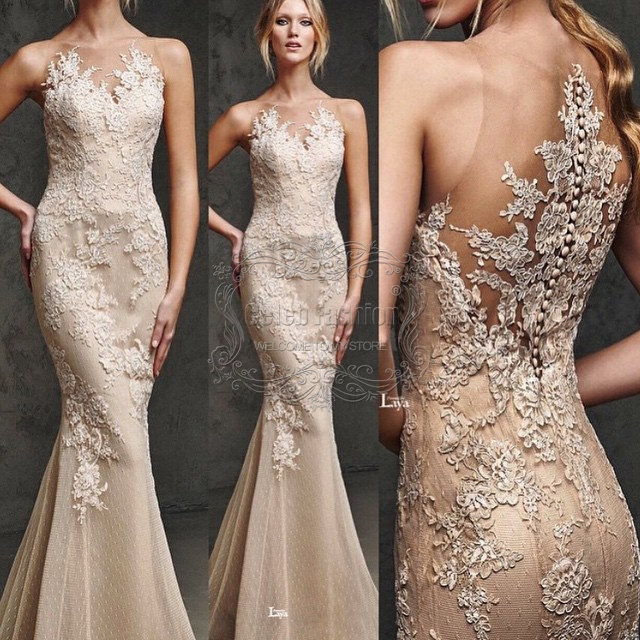 2015 Lace Appliques Bodice O Neck Tank Long Mermaid Prom Evening Dress Luxury Special Occasion - CelebFashion store