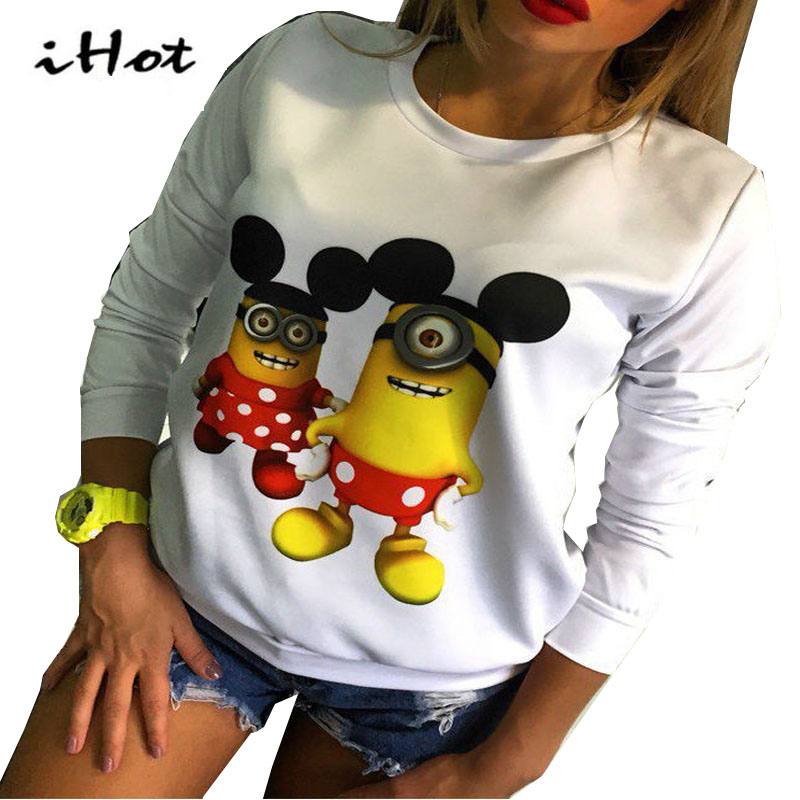 Women hoodie winter Long Sleeves Minion printed Casual jogging sweatshirts sportswear suit Plus Size Cotton Clothes tracksuit(China (Mainland))