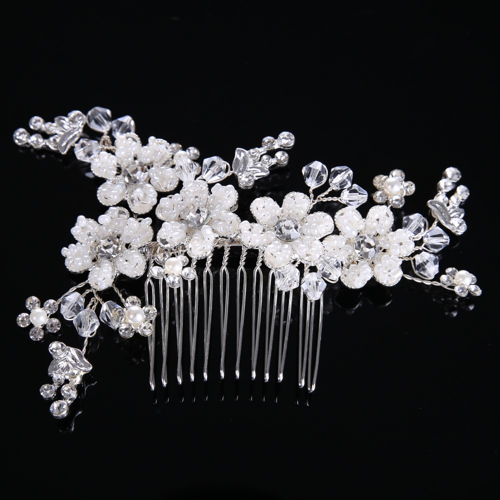 All Match Female Jewelry Gorgeous Silver Women Hairwear Crystal Glass Hair Stick Crystal Beads Alloy Hairwear CY161117-39(China (Mainland))