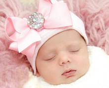 C5  cute cotton baby hospital hat with bow high quality infant newborn toddler caps baby winter& autumn warm accessory(China (Mainland))