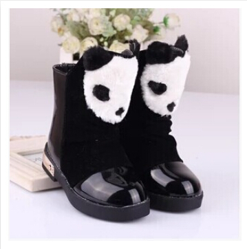 The new 2015 winter children / child / Newborn / Infant / baby shoes panda head snow boots white, red, black leather boots 26-37(China (Mainland))
