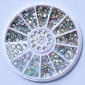 Biutee Nail Decoration Rhinestone 5 Sizes Silver Multicolor Acrylic Nail Art Decoration Glitter Nail Rhinestones Nail