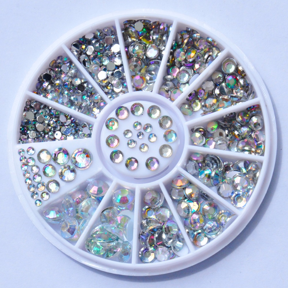 Nail decoration rhinestone 5 sizes silver multicolor for Acrylic nail decoration supplies