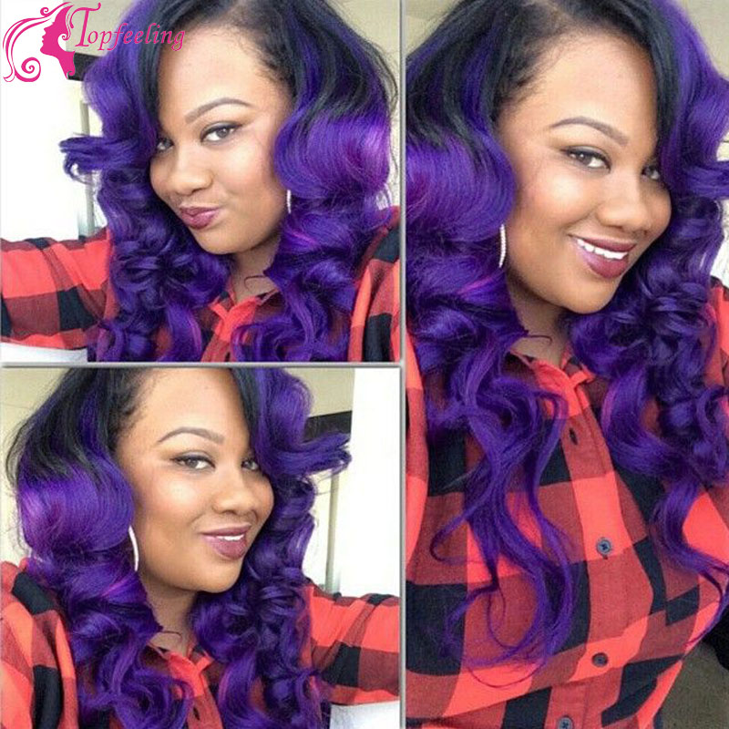 Two Tone Purple glueless full lace wigs with baby hair Virgin ombre lace front Brazilian&amp;Wet Wavy Wigs For Black Women Perruque<br><br>Aliexpress