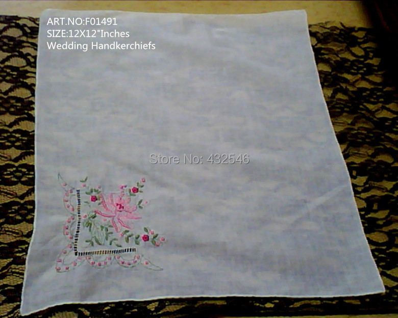 "White Cotton Wedding Handkerchiefs with Embroidered red rose design & hand rolled edges.SIZE:12"" x 12""Inches.FOB;US$21.14/Dozen.(China (Mainland))"