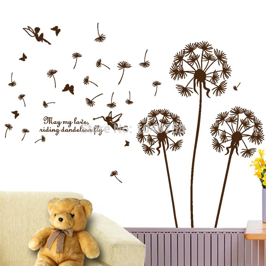 Removable PVC Dandelion Wall Stickers living Room,Flower Decorative Wall Decal, Kids Home Decoration Butterfly Wall Art Poster(China (Mainland))