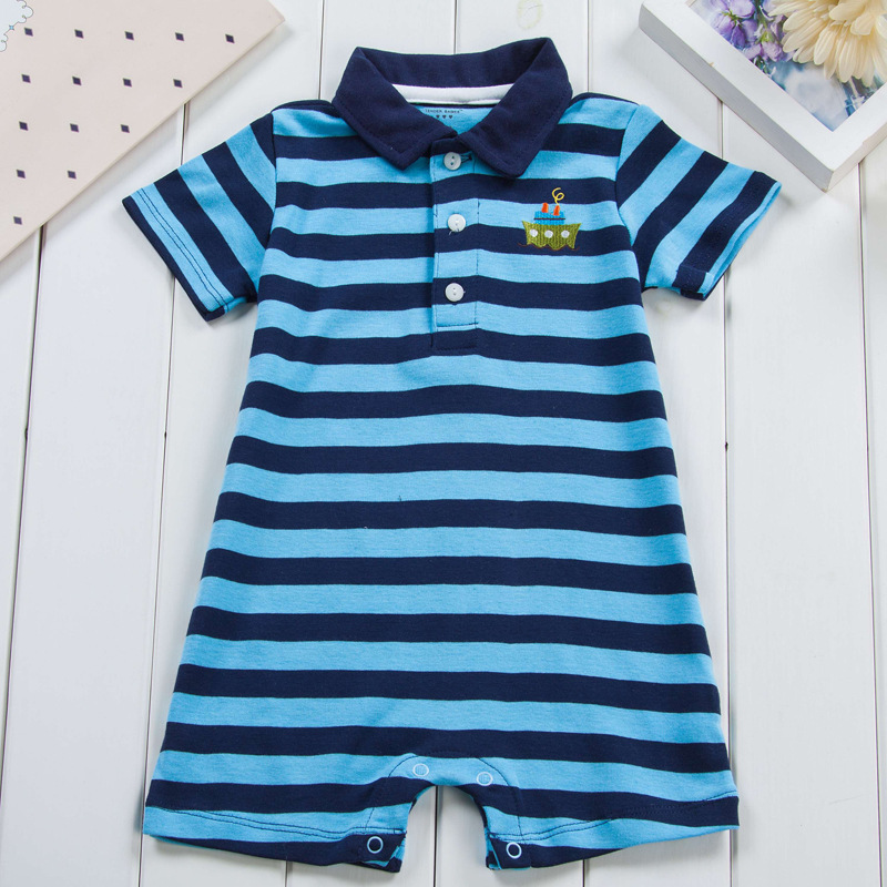 Striped Polo Baby Boy Rompers Summer Short Sleeve Jumpsuits Infant Casual Gentleman Clothing recem nascido mameluco - Sun Angel House store