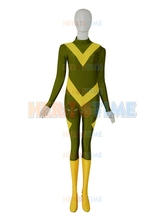 Army Green & Yellow Color Custom Superhero Costume spandex female halloween cosplay costumes hot sale zentai suit  free shipping