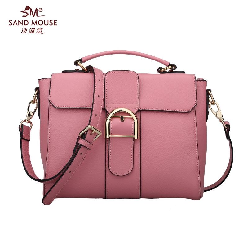 Фотография 2015 SANDMOUSE Fashion Famous Brand Genuine Leather Women Bag High Quality Women Totes Handbags Women Solid Zipper Shoulder Bags