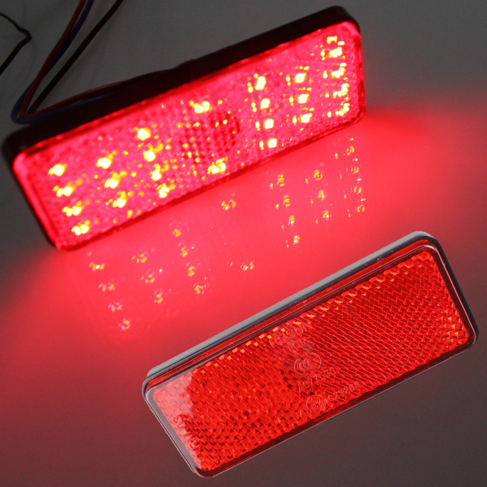 2x Universal LED Reflector Red Rear Tail Brake Stop Marker Light For SUV Truck Trailer Motorcycle Car(China (Mainland))