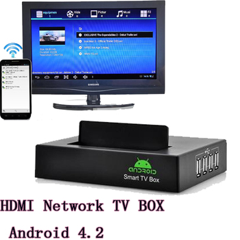 """Network HD media player HDMI TV BOX Android 4.2 OS 4x USB2.0 Support 2.5"""" inch hard disk black free shipping"""