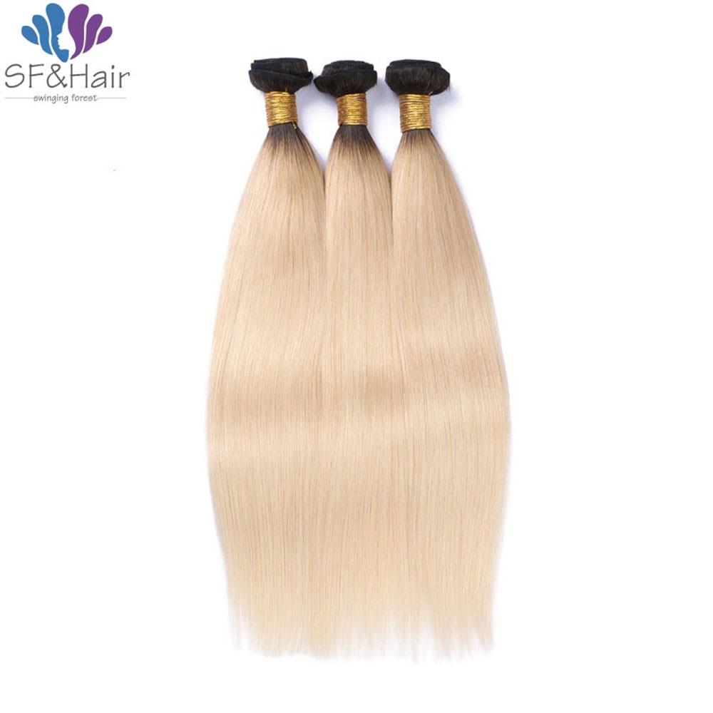 8A Grade #T1B 613 Blonde Virgin Hair Weave 3 Bundle Deals Silky Straight Brazilian Hair Extensions Ombre Blonde Hair Bundles
