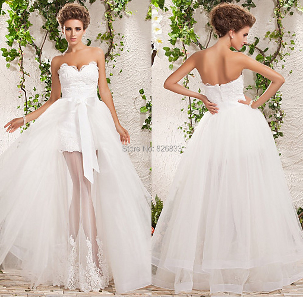 Elegant Lace Appliques Sweetheart Detachable Skirt Wedding Dress Front Short