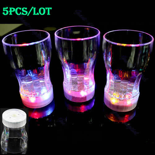 A31 On Sale 5pcs Small 6 LED Light Flashing Decorative Beer Mug Drink Cup For Parties