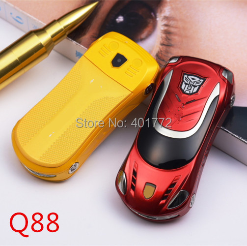 Luxury Sports Car Shape Flip Mobile Phone Q88 Flashlight Mini Children Cell Phone Quad Band Dual SIM Card Russian Keyboard(China (Mainland))