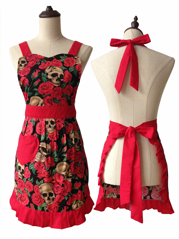 Skull Red Rose Black Vintage Kitchen Retro Pinny 50s Pin Up Red Grey Zombie Gothic Ladies Cotton Apron(China (Mainland))