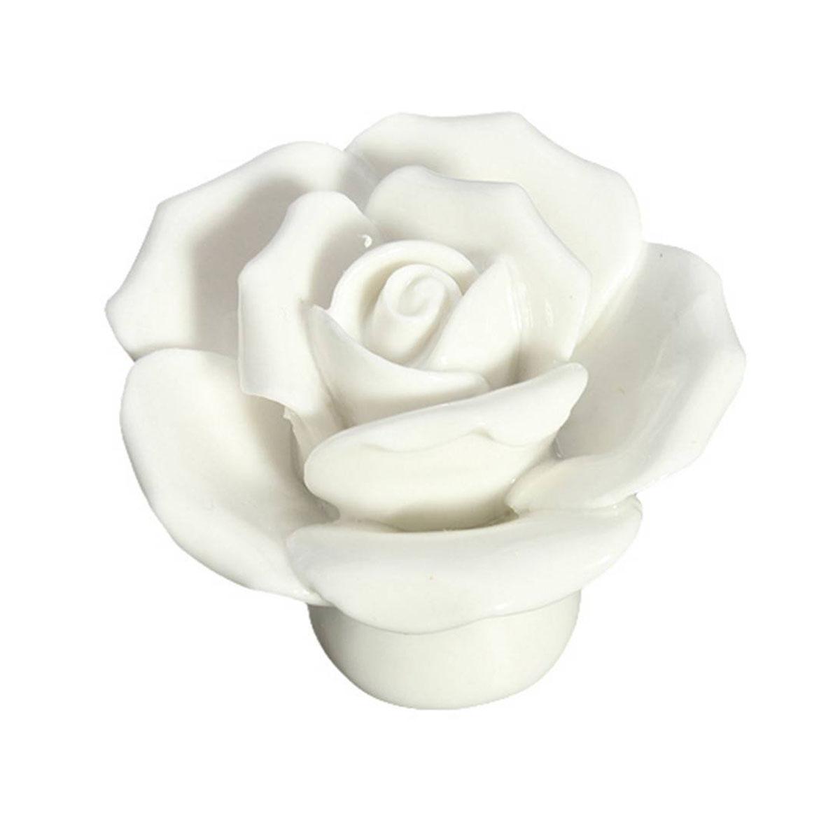 10pcs Vintage Rose Flower Ceramic Door Knobs Handle Drawer White<br><br>Aliexpress