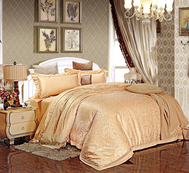 wedding Jacquard Gold King bedding set /bed set silk/luxury comforter sets queen/home textile/Quilt cover/ Sheet/pillowcase(China (Mainland))