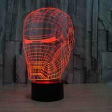 3D illusion night light iron man mask shape LED table lamp as gift free shipping  FS-2822(China (Mainland))