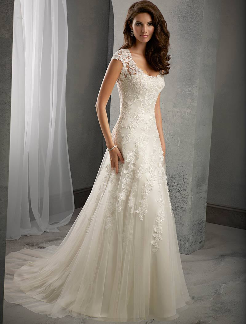 Ivory lace cap sleeves court train wedding mermaid dress for Lace sleeve wedding dresses