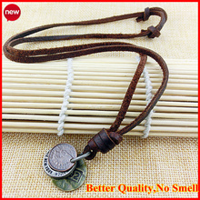 Factory Price fashion jewelry men's Punk 100% genuine leather vintage cowhide necklace high quality leather pendant necklaces