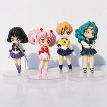 4pcs/set Anime Sailor Moon Figure Toy Tsukino Chibiusa Tenoh Haruka Tomoe Hotaru Kaioh Michiru PVC Dolls kunai pet