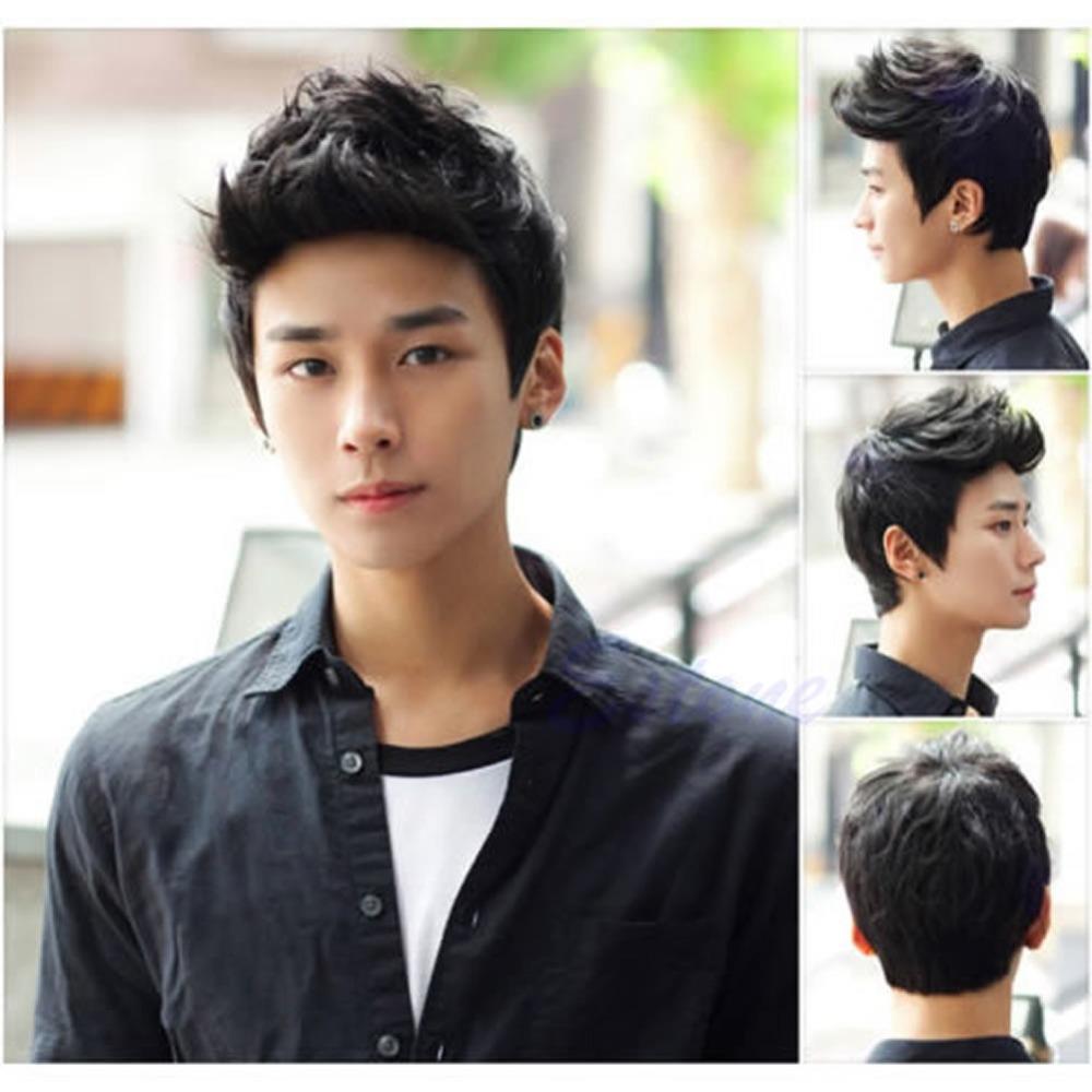 Гаджет  Sexy Men Korean Handsome Black Short Hair Cosplay Party Hair Wig Full Wigs None Волосы и аксессуары