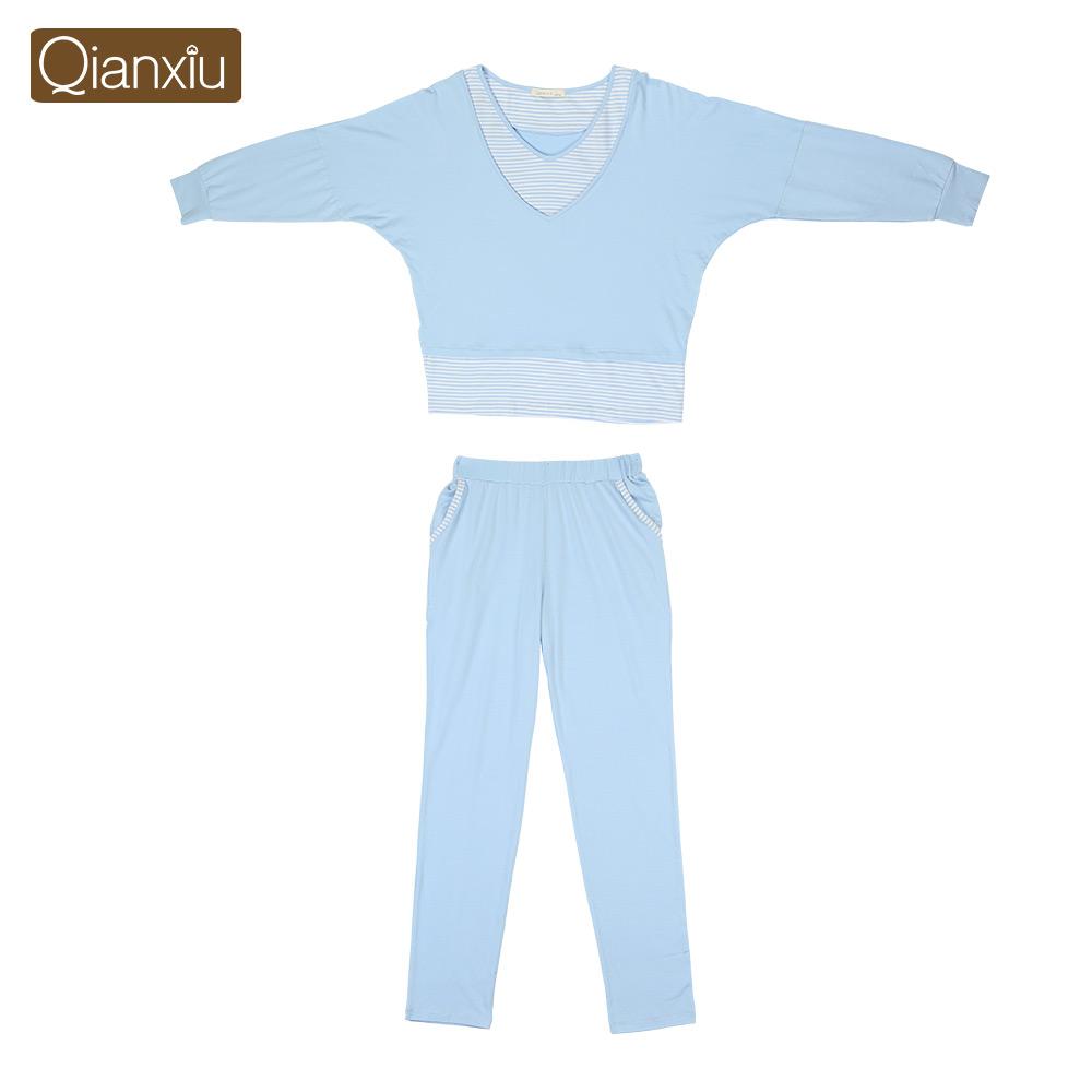 Qianxiu марка пижамы комплект для женщин трикотажные модальные пижамы о-образным вырезом домашнее платье бесплатная доставка