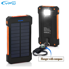 YFW 2016 Waterproof Solar Power Bank 10000mAh Dual USB Portable Solar Charger Battery with LED Light&Compass for Universal phone(China (Mainland))