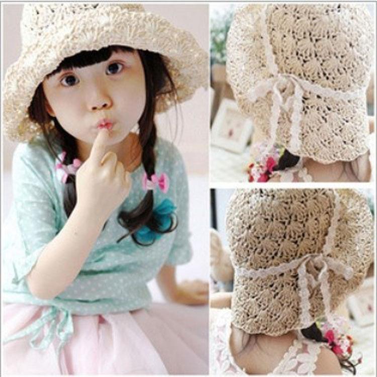 2014 girls summer hats Kids straw sun caps hats children Sunbonnet good qualtiy kids girls Beach Hat(China (Mainland))