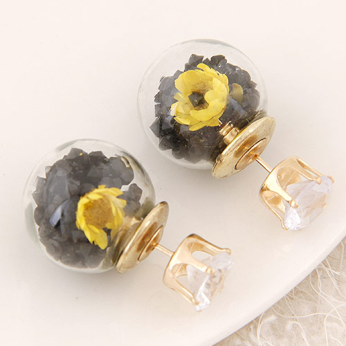 Double Faced Stud Earring fashion free shipping Czech Glass, gold color plated, grey, lead & cadmium free, 15x8mm, Sold By Pair(China (Mainland))