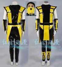 Scorpion Mortal Kombat 3 Yellow Outfit Cosplay Costume Any Size