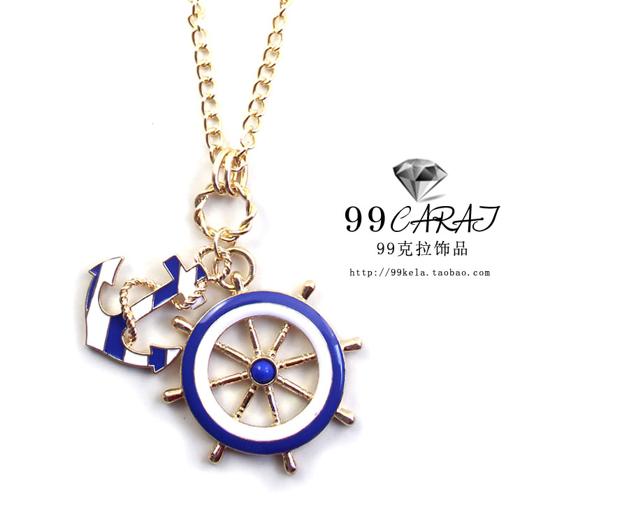 2014 Newly Fashion European Vintage Anchor Navy Blue Style Long Pendant Necklace N3234 - WOW 365days Jewelry store