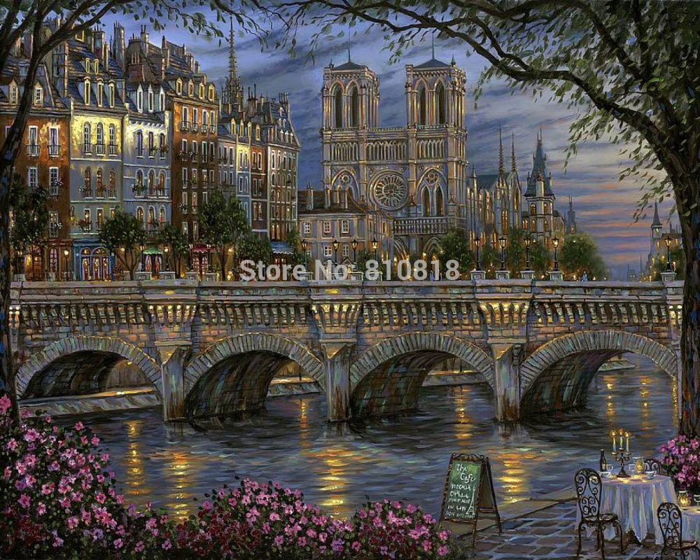 Frameless diy digital painting by numbers painting on canvas picture oil painting home decor 4050 Gothic architecture