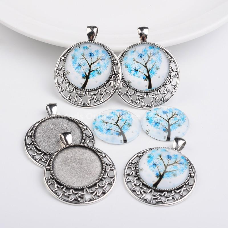 Antique Silver Alloy Pendant Cabochon Settings and Tree of Life Printed Half Round/Dome Glass Cabochons, LightBlue, Settings:(China (Mainland))