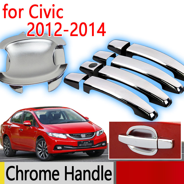 Hot Sale For Honda Civic 2012 - 2017 Accessories Chrome Door Handle Luxurious Not Rust 2013 2014 Car Covers Stickers Car Styling(China (Mainland))