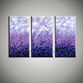 3 piece purple pink acrylic wall picture Abstract decorative panel art handmade oil painting on canvas