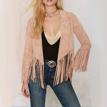 Women Lady Casual Soft Vogue Suede Tassels Long Sleeve Comfortable Charming Good Selling Adorable Outwear Coat Camel S/M/L/XL(China (Mainland))