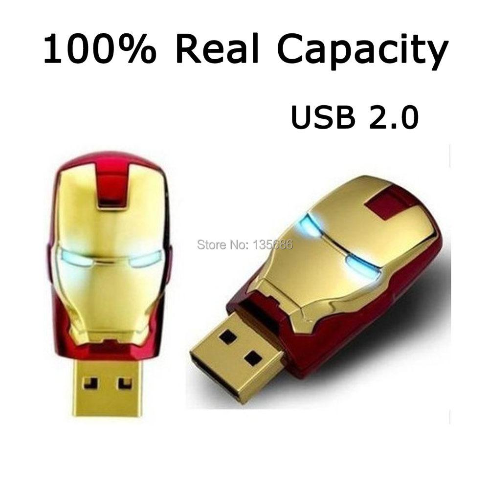 2015 Real Capacity Crystal Iron Man USB Flash Drive 64GB 32GB Pen Drive USB 2.0 4GB 8GB 16GB USB 2.0 Memory Stick U Disk(China (Mainland))