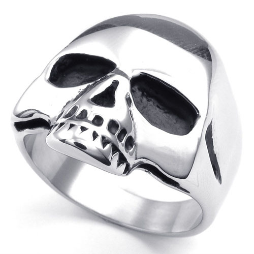 Stainless Steel Ring Skull Head Punk Badge Heavy Metal Charms 10023192(China (Mainland))