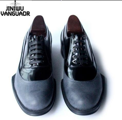 star jini fashion men's cool grey genuine leather brockden geometry sole color block formal oxford lacing dress shoes JW08 @(China (Mainland))