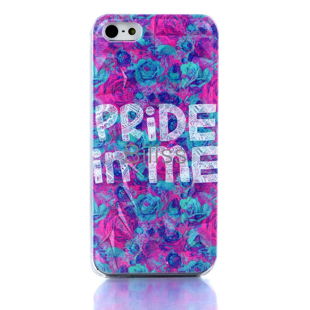 "Phone Cases For Apple iPhone 5 5S 3D Rhombus Rose Floral ""Pride in Me"" Slim Hard Case Cover Accessory Purple Women Ladies Gift(China (Mainland))"