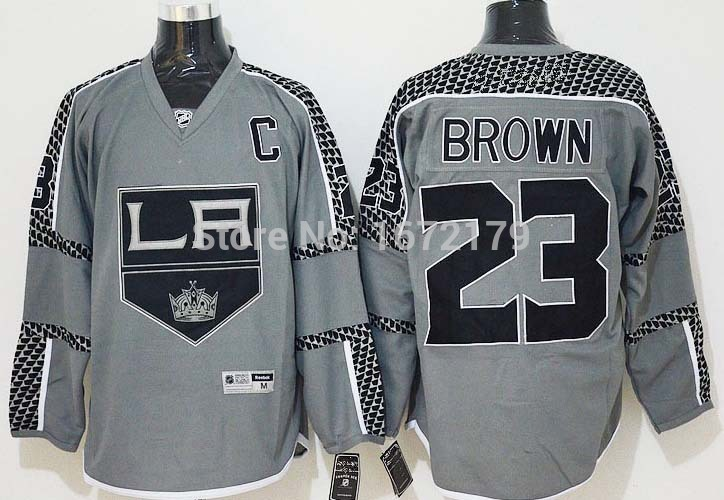 NEW 2015 MENS LOS ANGELES KINGS #23 DUSTIN BROWN GRAY CROSS CHECK FASHION PREMIER LA 100% STITCHED ICE HOCKEY JERSEY(China (Mainland))