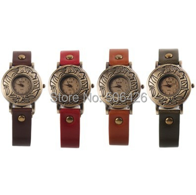 10pcs/lot New Hot Sale High quality Fashion Women Retro Leather Vintage Wrist Quartz Watch Ladies Watches Wristwatch Часы