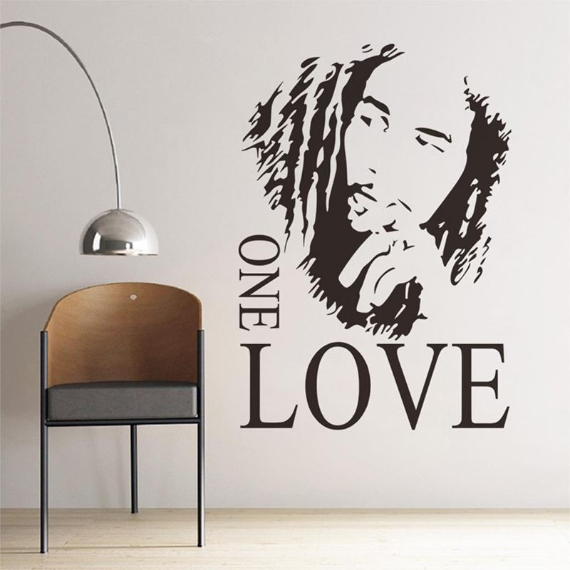 Http Www Aliexpress Com Item 1pcs New Removable Wall Decals Stickers Art Home Decor Bob Marley One Love Background For Room 32394399736 Html